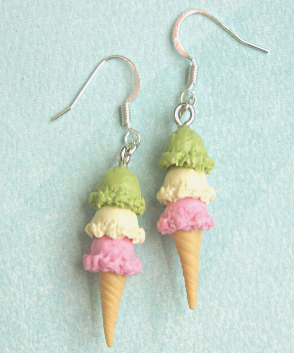 Triple Scoop Ice Cream Dangle Earrings - Jillicious charms and accessories - 1