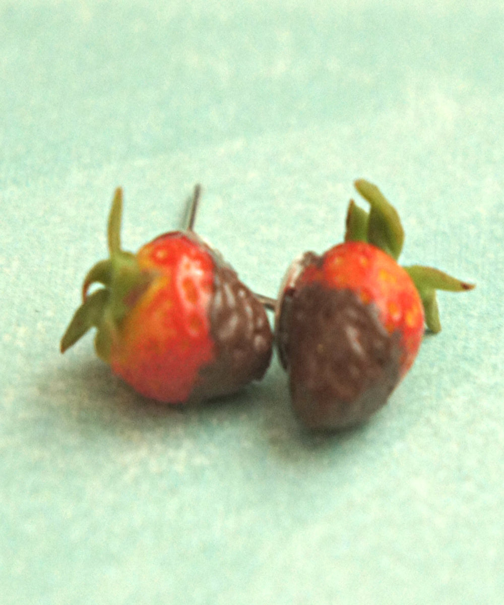 chocolate dipped strawberries earrings - Jillicious charms and accessories