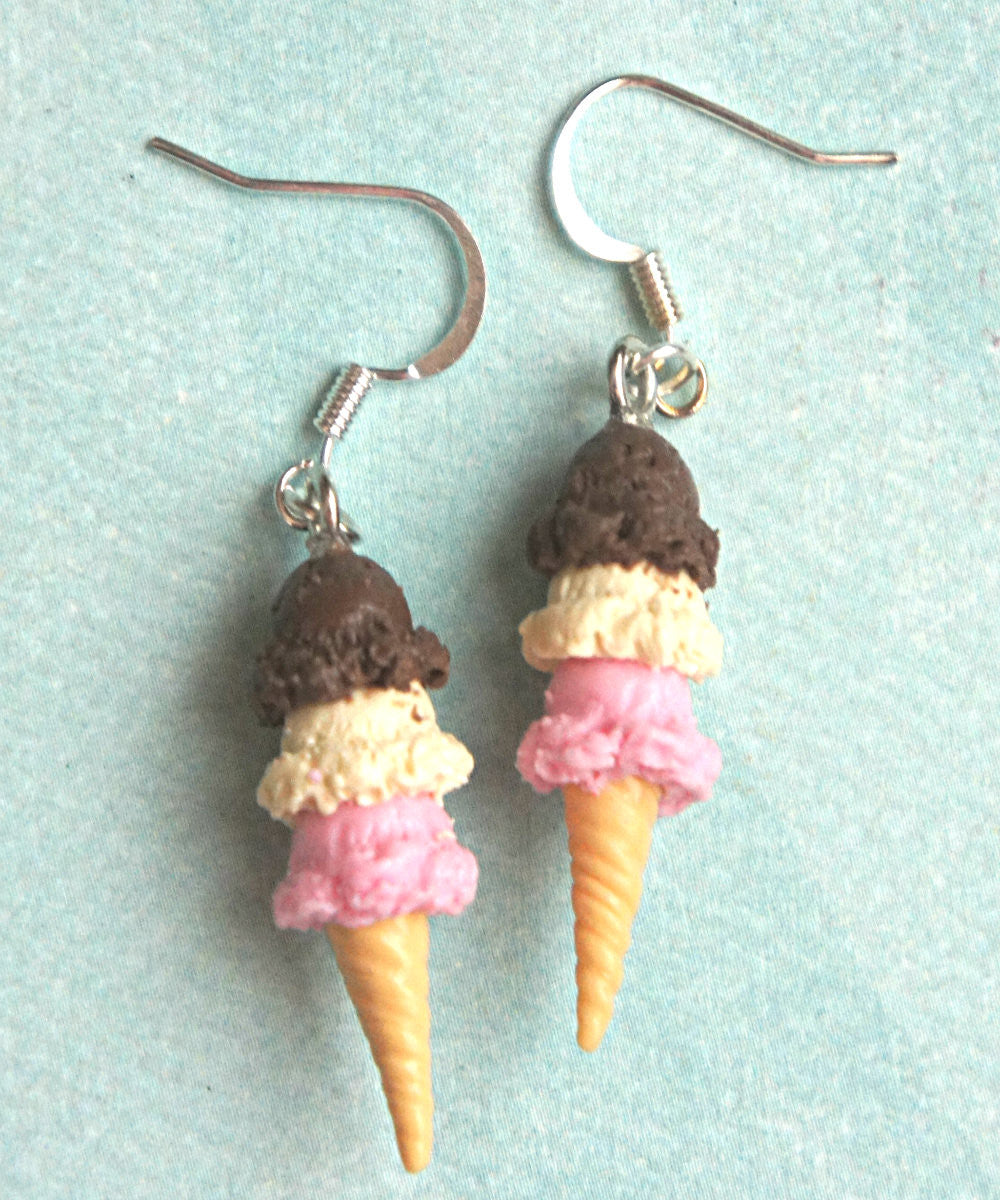 Neapolitan Ice Cream Dangle Earrings - Jillicious charms and accessories - 1