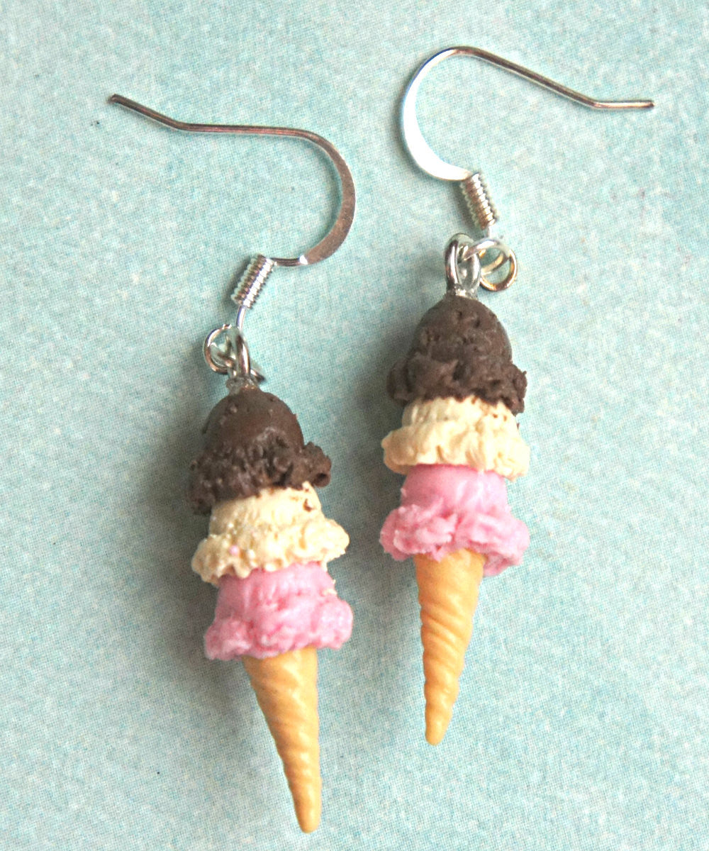 Neapolitan Ice Cream Dangle Earrings - Jillicious charms and accessories - 2