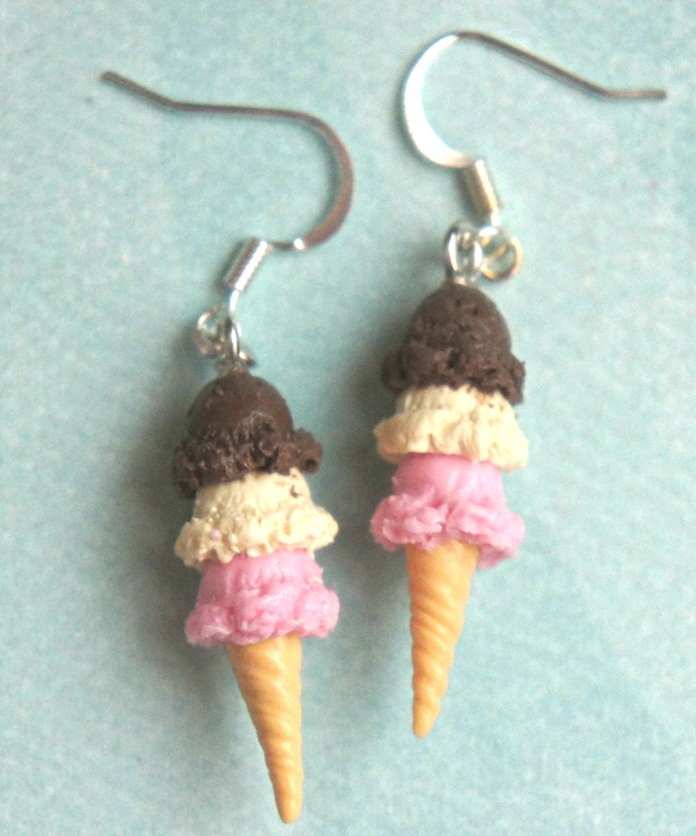 Neapolitan Ice Cream Dangle Earrings - Jillicious charms and accessories - 3