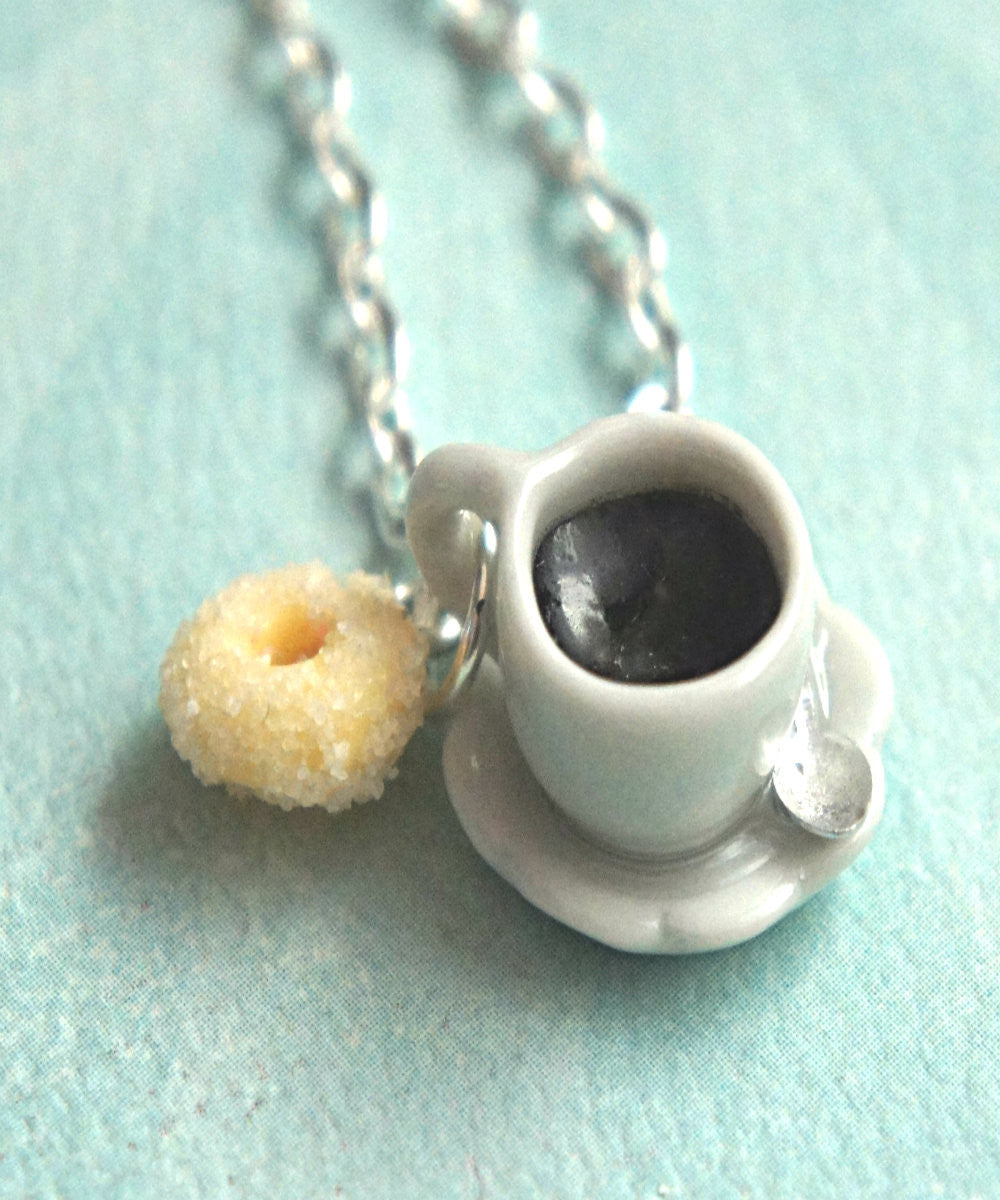 Sugar Donut and Coffee Necklace - Jillicious charms and accessories - 1