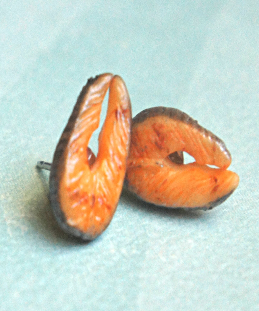 Salmon Stud Earrings - Jillicious charms and accessories - 1