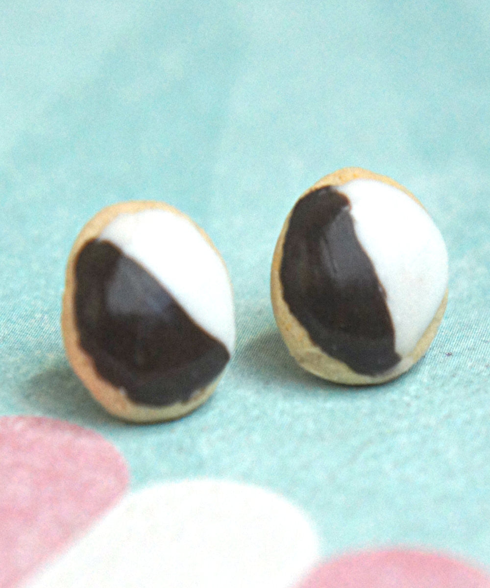 Black and White Cookies Stud Earrings - Jillicious charms and accessories