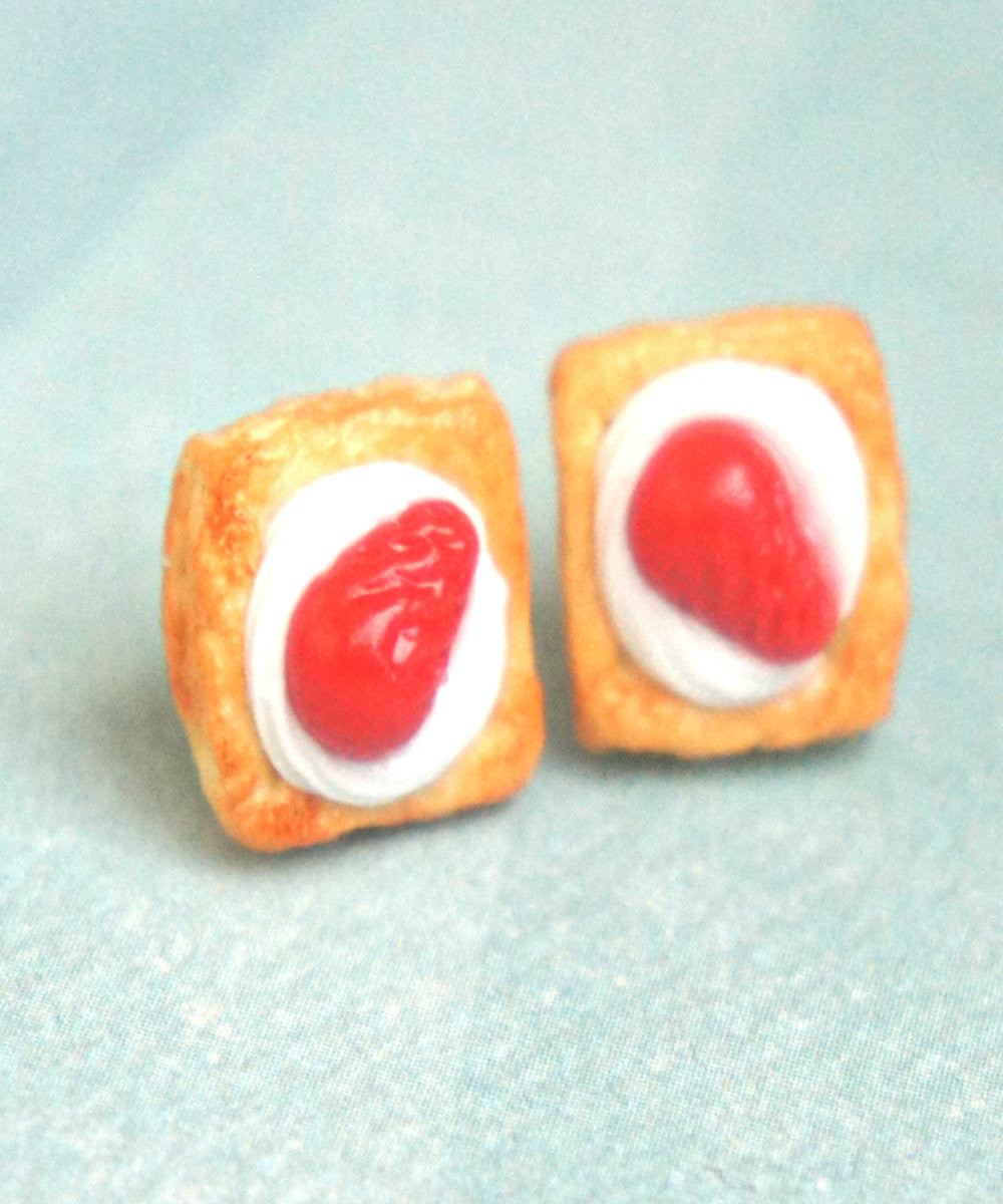 Strawberries and Cream Pastry Stud Earrings - Jillicious charms and accessories - 2