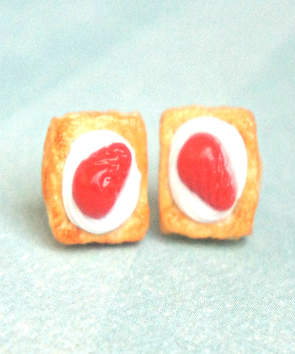 Strawberries and Cream Pastry Stud Earrings - Jillicious charms and accessories - 3