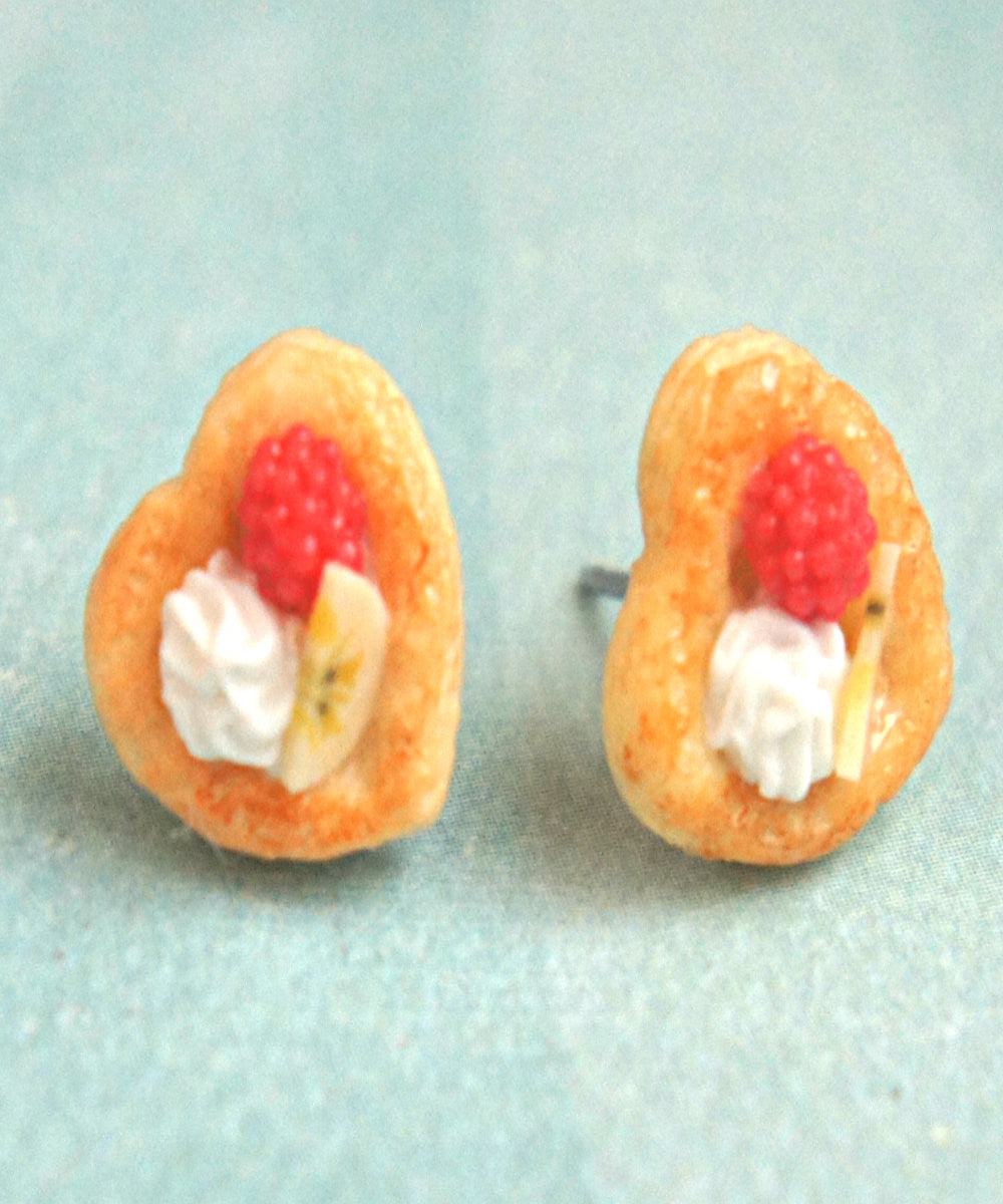 Raspberry Banana Pastry Stud Earrings - Jillicious charms and accessories - 2