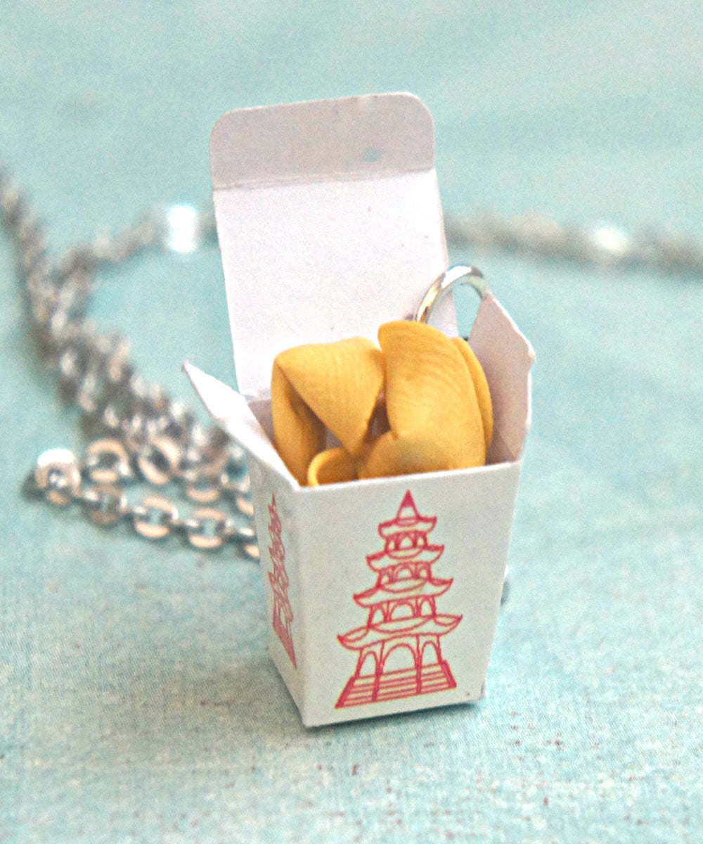fortune cookie take out box necklace - Jillicious charms and accessories