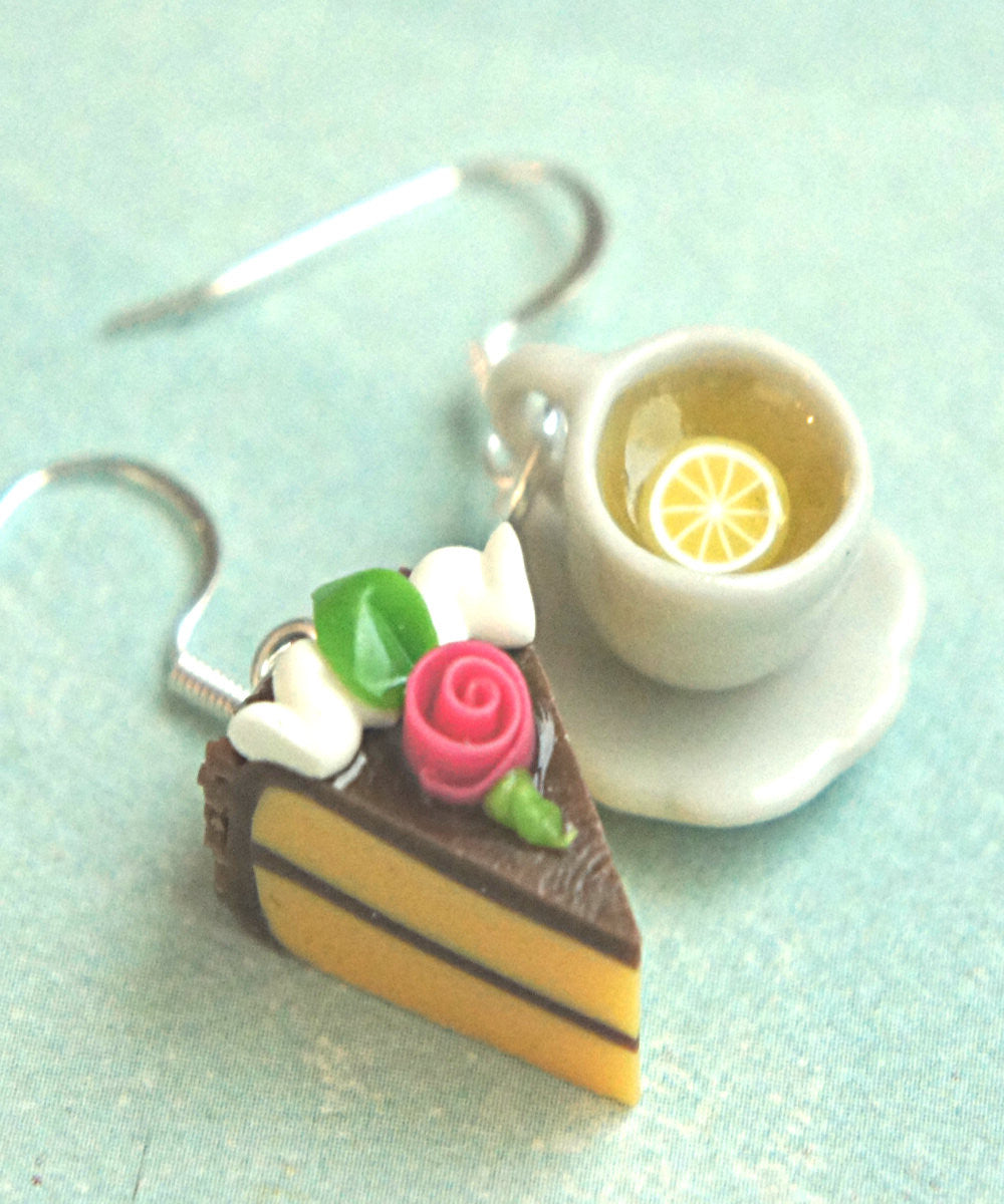 Rose Cake and Lemon Tea Dangle Earrings - Jillicious charms and accessories - 5