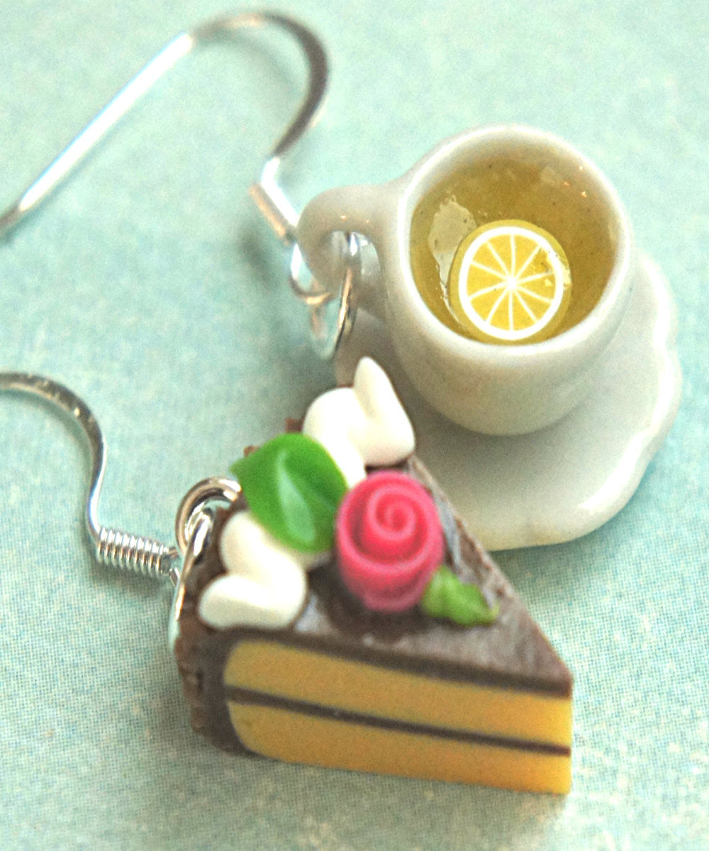 Rose Cake and Lemon Tea Dangle Earrings - Jillicious charms and accessories - 2