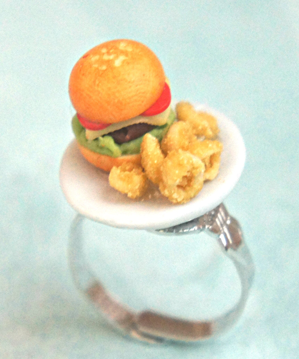 burger and onion rings/fries ring - Jillicious charms and accessories