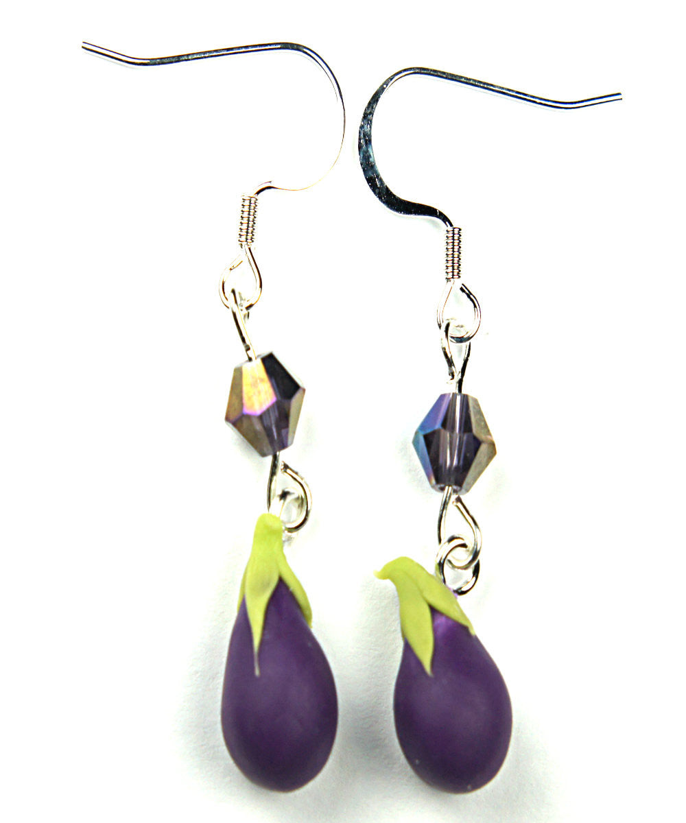 eggplant earrings - Jillicious charms and accessories