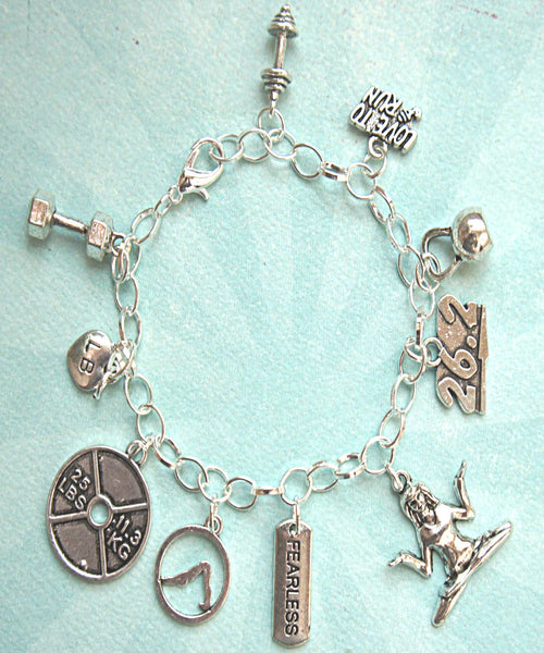 fitness inspired charm bracelet - Jillicious charms and accessories