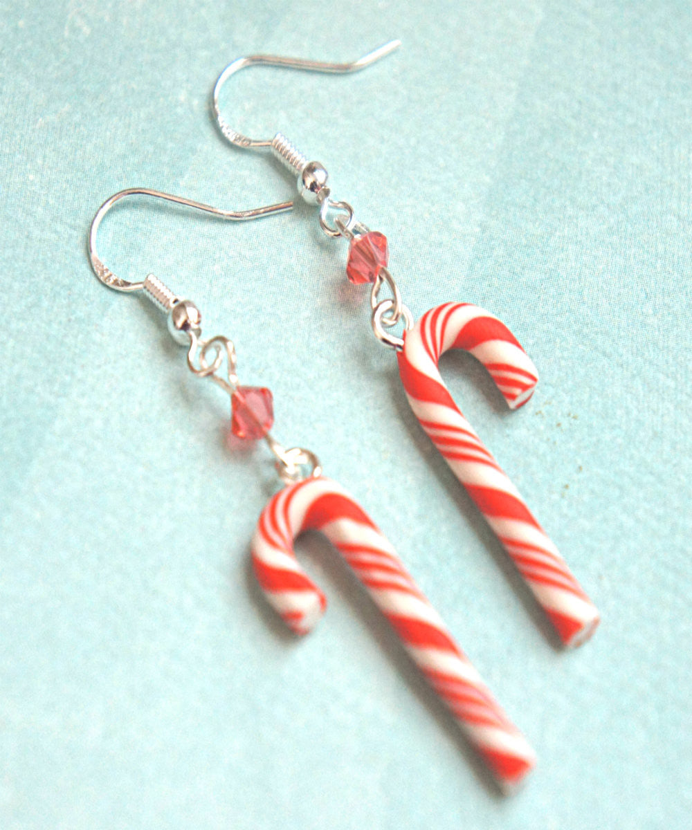 Candy Cane Dangle Earrings - Jillicious charms and accessories - 1
