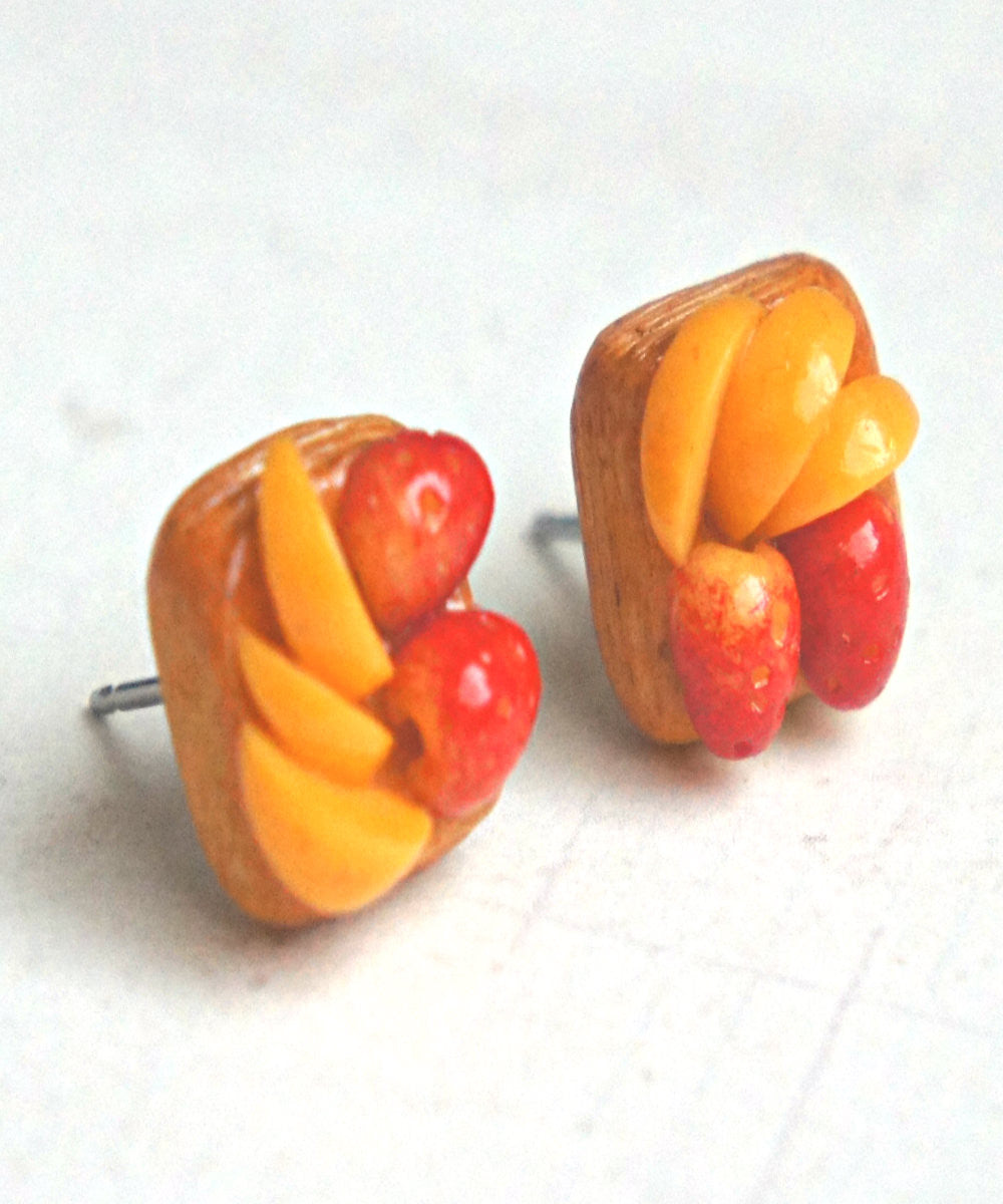 Strawberry Peach Puff Stud Earrings - Jillicious charms and accessories - 2