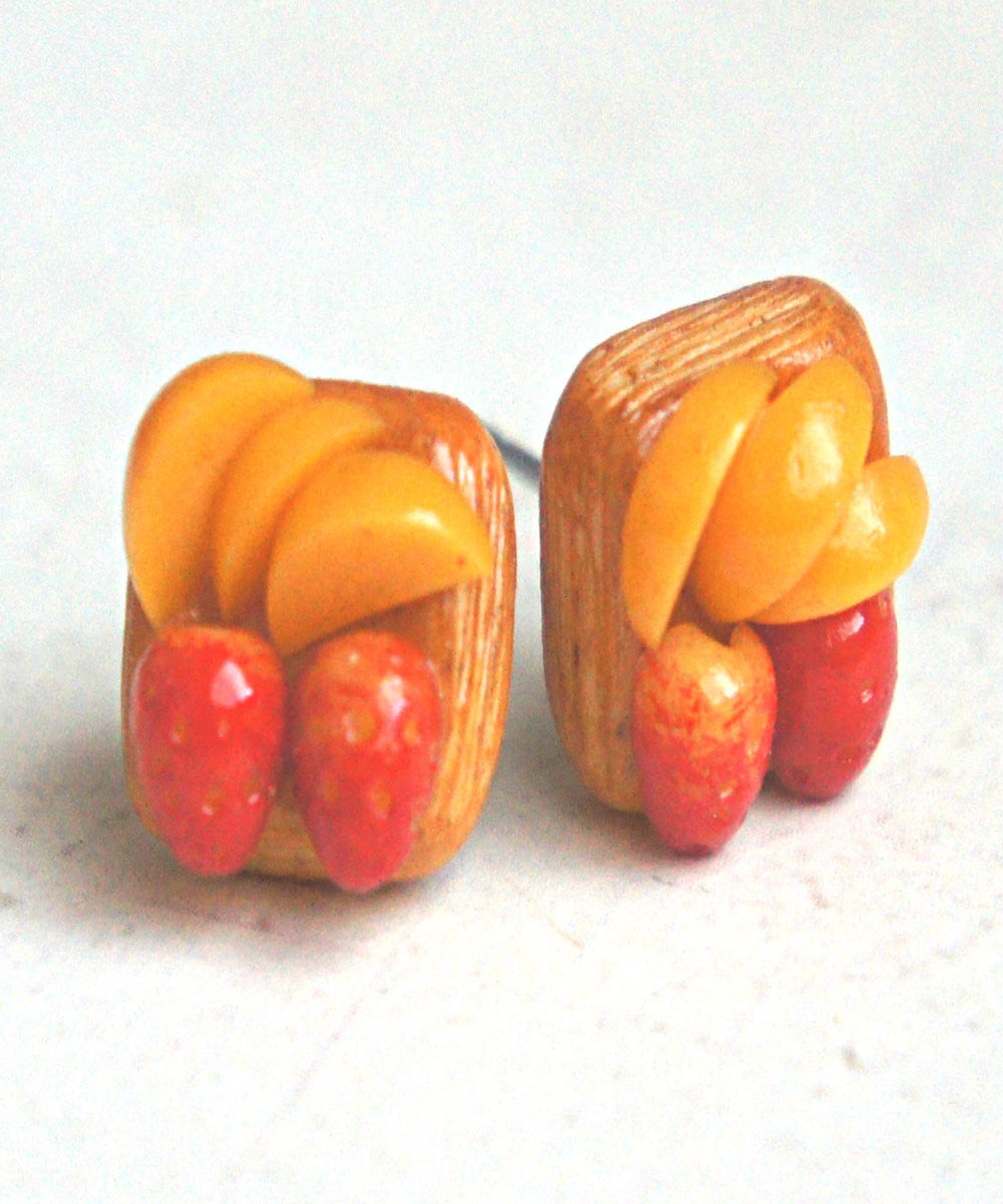 Strawberry Peach Puff Stud Earrings - Jillicious charms and accessories - 1