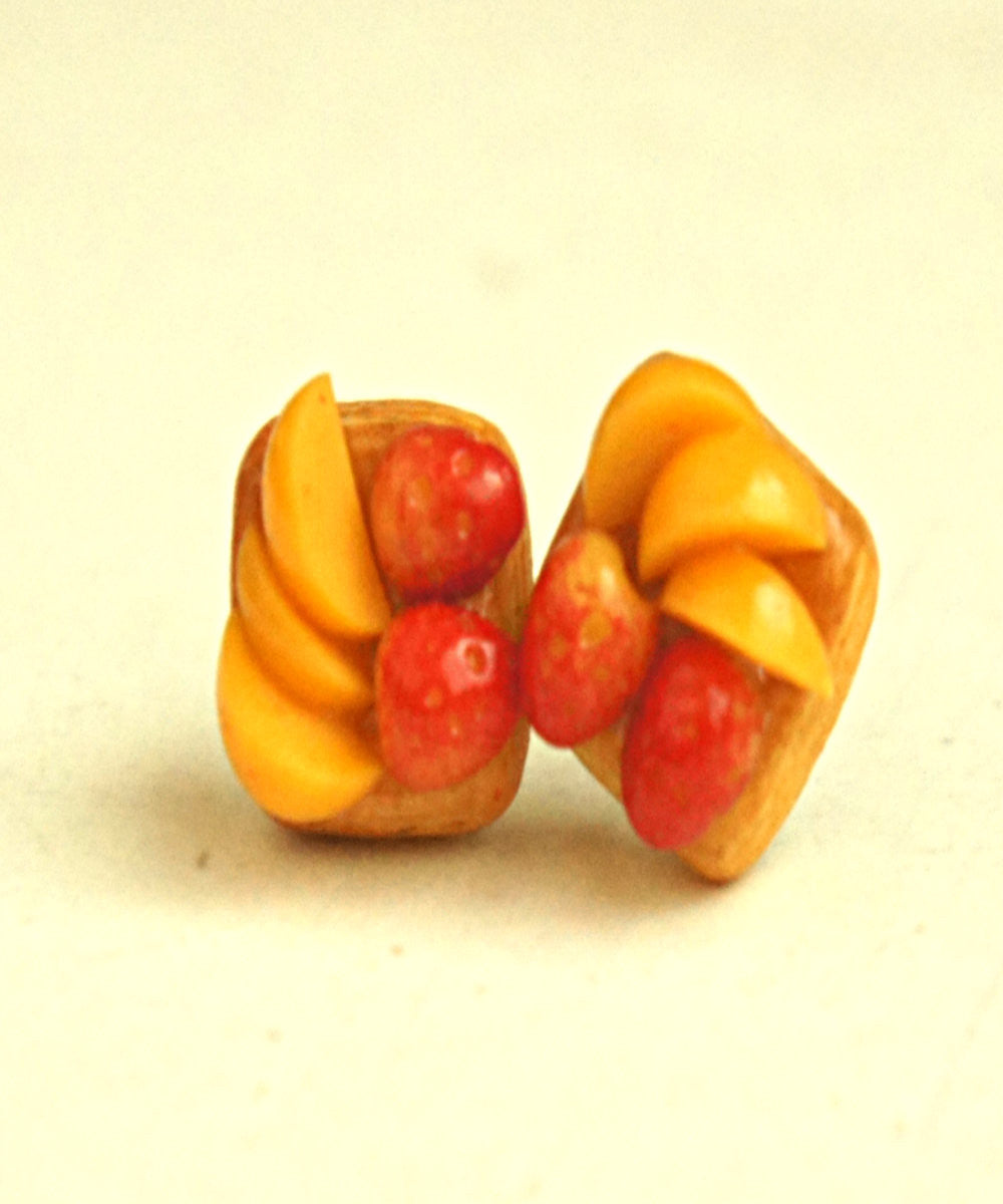 Strawberry Peach Puff Stud Earrings - Jillicious charms and accessories - 3