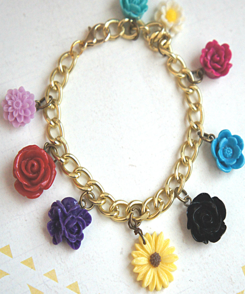 flowers charm bracelet - Jillicious charms and accessories