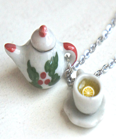Christmas tea set necklace - Jillicious charms and accessories