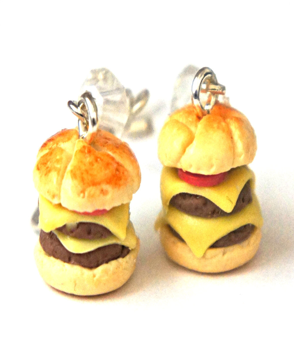 double cheeseburger dangle earrings - Jillicious charms and accessories