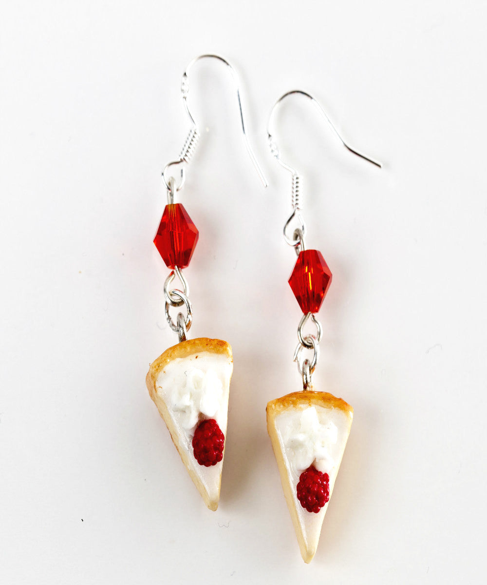 White Chocolate Raspberry Cheesecake Dangle Earrings - Jillicious charms and accessories - 1