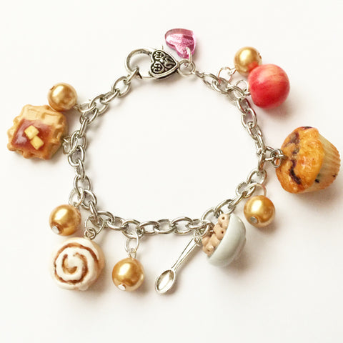 Breakfast Treats Charm Bracelet - Jillicious charms and accessories