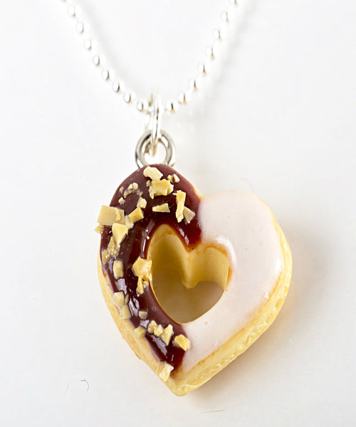 chocolate heart donut necklace - Jillicious charms and accessories