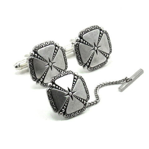 Maltese Cross Cuff Links and Tie Tack Set