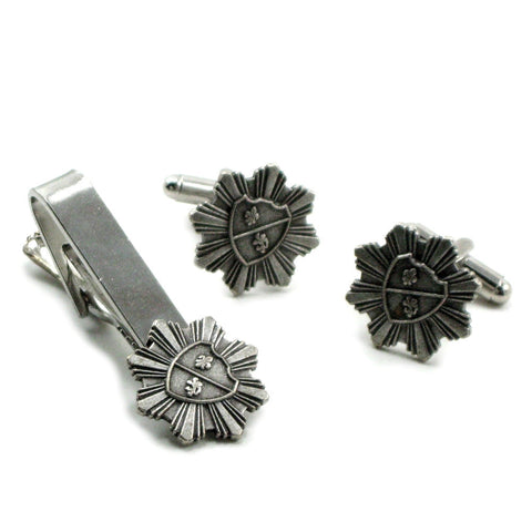 Coat of Arms Cuff Links and Tie Clip Set