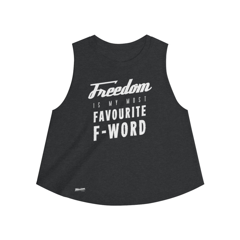 Tank Top,2XL / Dark Grey Heather,Freedom Is My Favourite F Word Women Top | Bikerisma ™