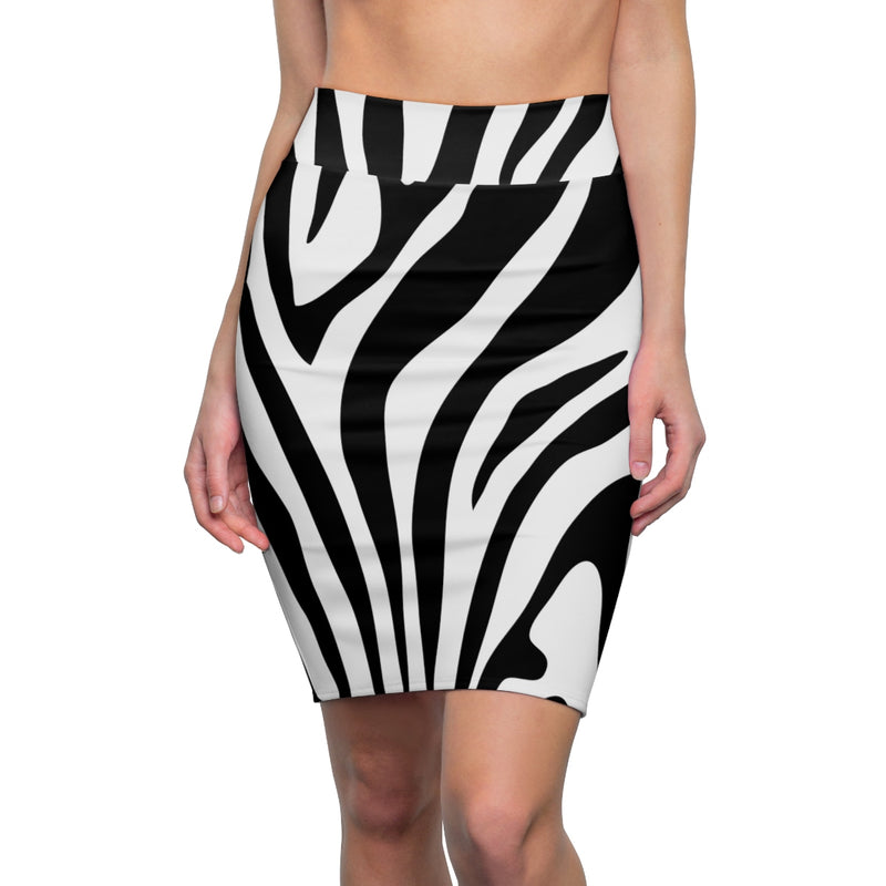 Zebra Skin Print Women's Pencil Skirt