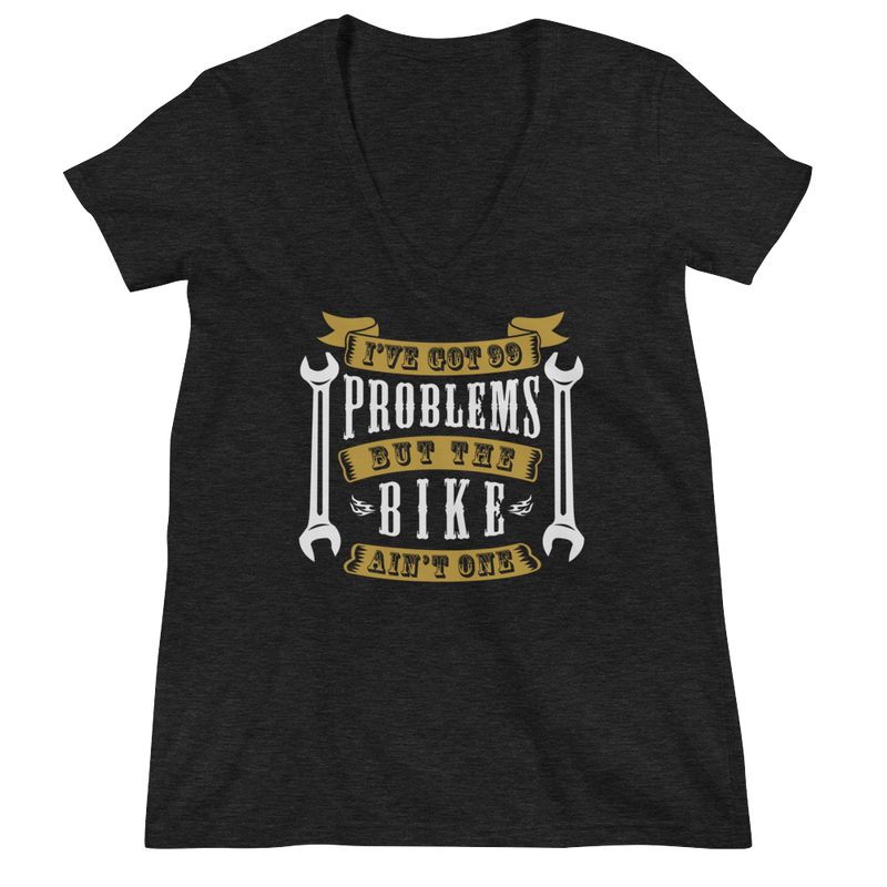 Women's V-Neck T-Shirt,Black / 2XL,I Got 99 Problems Women's V-Neck T-Shirt | Bikerisma ™