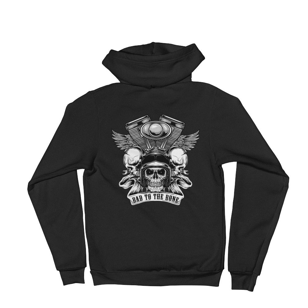 Men's Hoodie,Black / 2XL,Bad to the Bone Zip Black Hoodie | thebikerstshirt