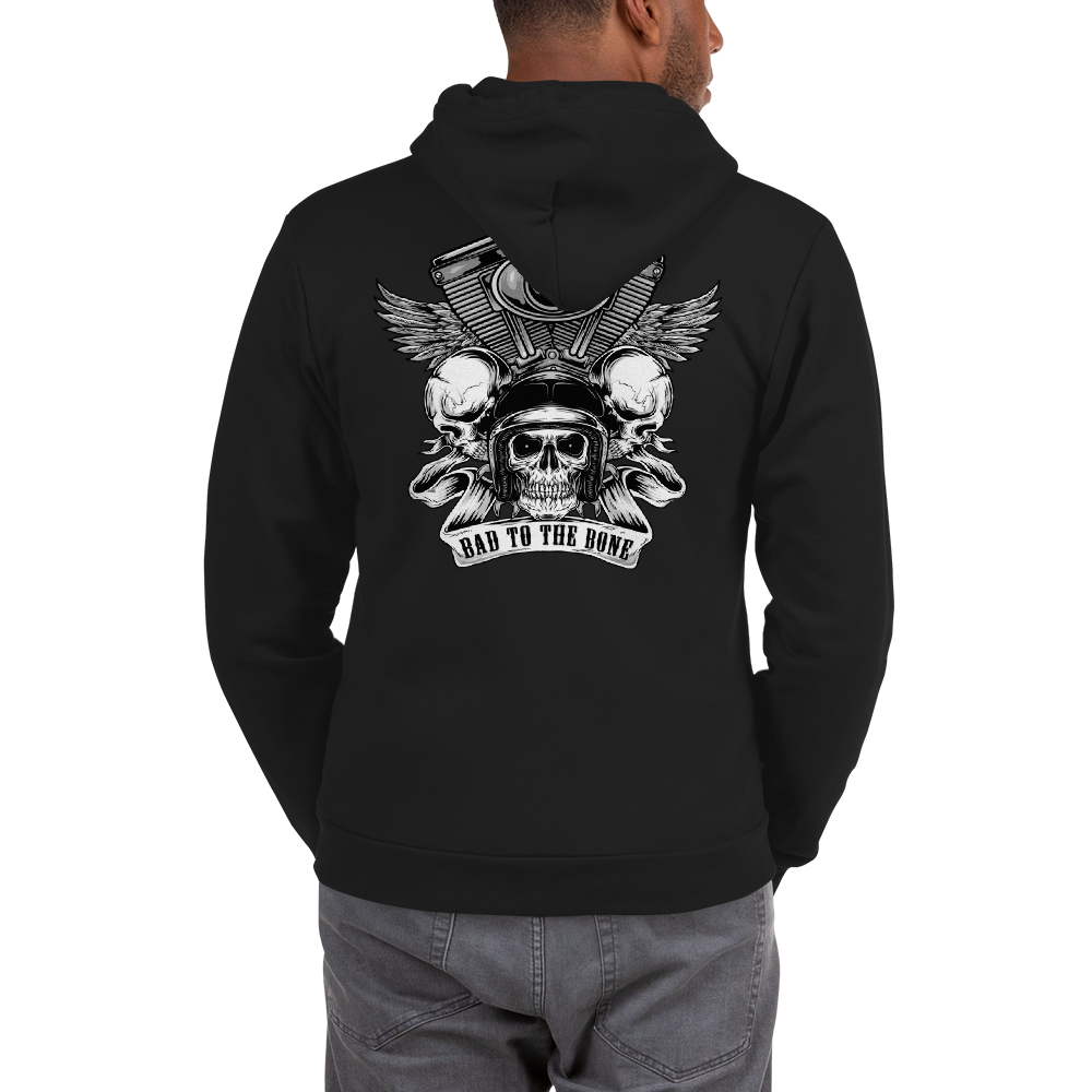 Men's Hoodie,,Bad to the Bone Zip Black Hoodie | thebikerstshirt