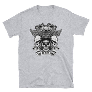 Men's T Shirt,Grey / 3XL,Bad to the Bone T Shirt | Bikerisma ™