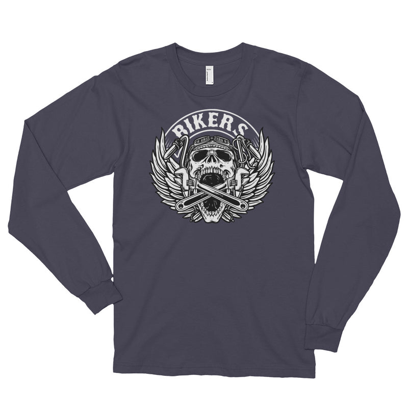 Men's Long Sleeve Shirt,Asphalt / 2XL,Bikers Long Sleeve Shirt | thebikerstshirt