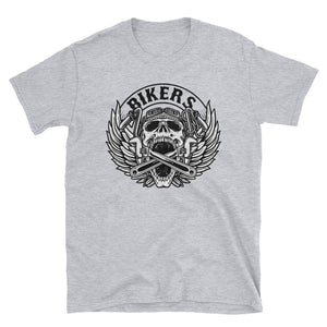Men's T Shirt,Grey / 3XL,Bikers Black Skull T Shirt | Bikerisma ™