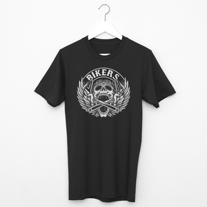 Men's T Shirt,,Bikers Black Skull T Shirt | Bikerisma ™