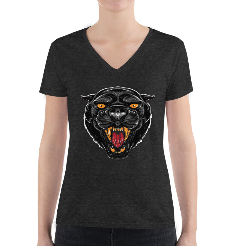 Women's V-Neck T-Shirt,,Black Panther I Women's V-Neck T-Shirt | Bikerisma ™