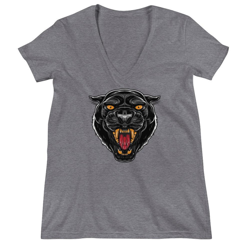 Women's V-Neck T-Shirt,Grey / 2XL,Black Panther I Women's V-Neck T-Shirt | Bikerisma ™
