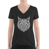 Women's V-Neck T-Shirt,,Bobcat Hand Drawn Women's V-Neck T-Shirt | Bikerisma ™