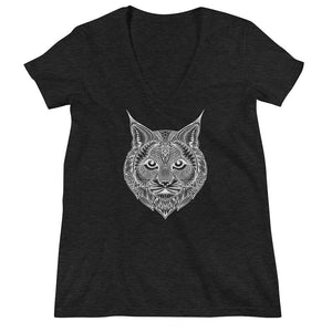 Women's V-Neck T-Shirt,Black / 2XL,Bobcat Hand Drawn Women's V-Neck T-Shirt | Bikerisma ™