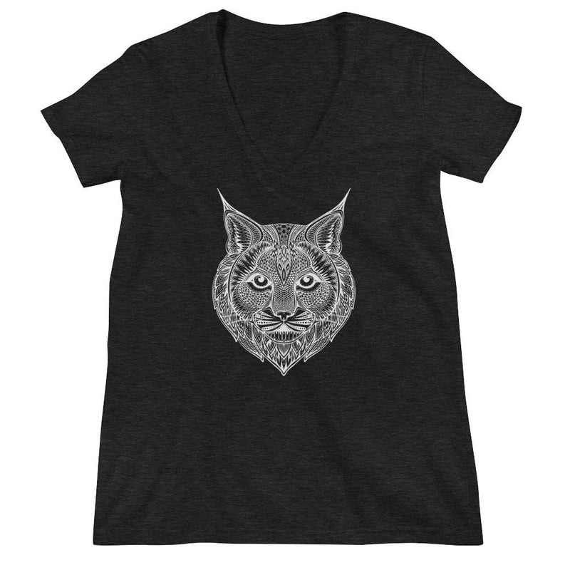 Women's V-Neck T-Shirt,Grey / 2XL,Bobcat Hand Drawn Women's V-Neck T-Shirt | Bikerisma ™