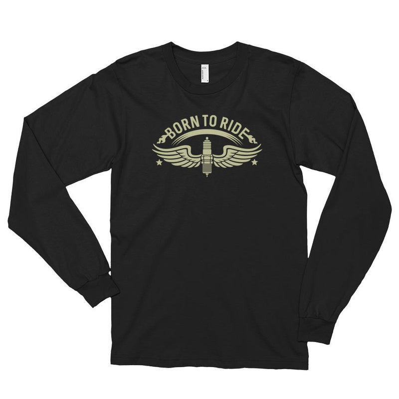 Men's Long Sleeve Shirt,Black / 2XL,Born To Ride Long Sleeve Shirt | thebikerstshirt
