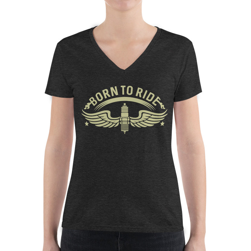 Women's V-Neck T-Shirt,,Born To Ride Women's V-Neck T-Shirt | Bikerisma ™