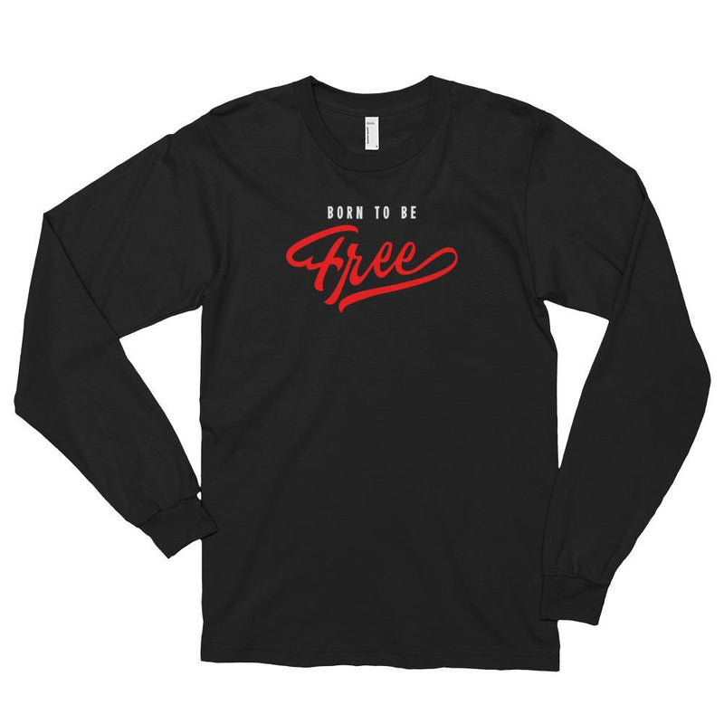 Men's Long Sleeve Shirt,Black / 2XL,Born To Be Free Long Sleeve Shirt | thebikerstshirt