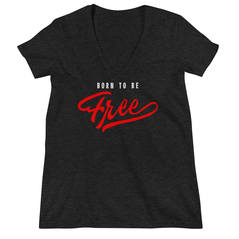 Women's V-Neck T-Shirt,Black / 2XL,Born To Be Free Women's V-Neck T-Shirt | Bikerisma ™