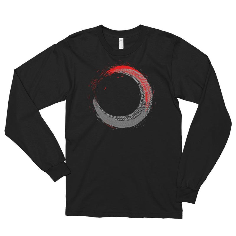 Men's Long Sleeve Shirt,Black / 2XL,Tire Tracks Long Sleeve Shirt | thebikerstshirt