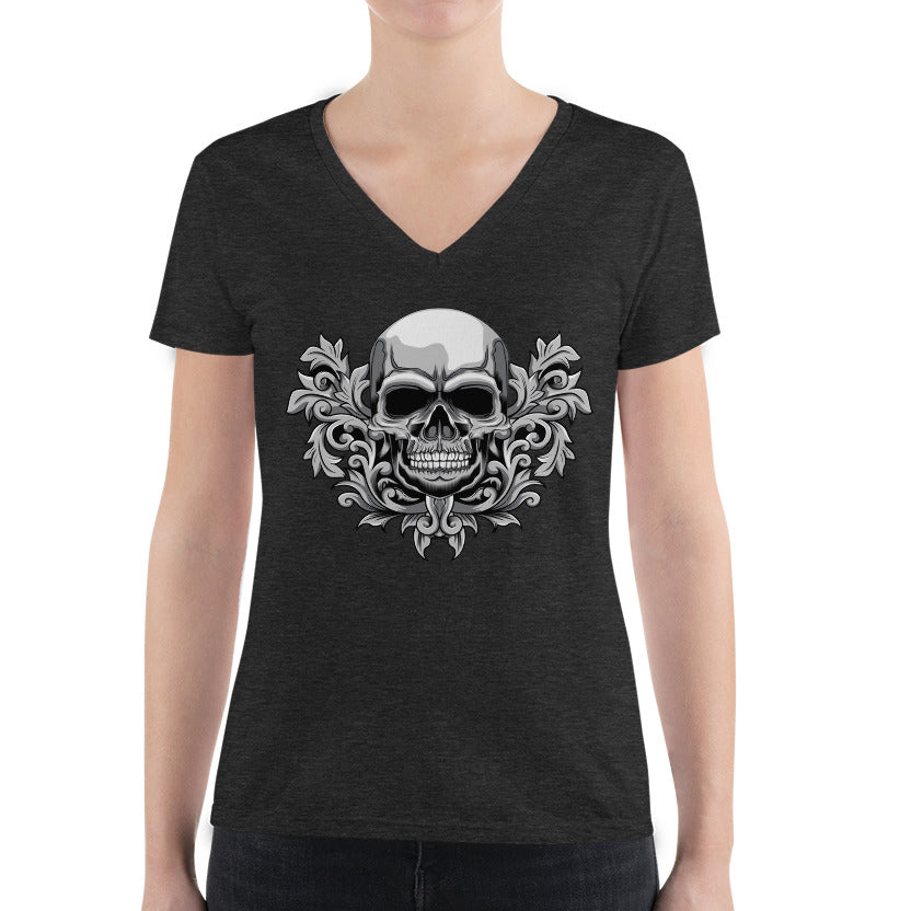 Women's V-Neck T-Shirt,,Corinthian Skull Women's V-Neck T-Shirt | Bikerisma ™