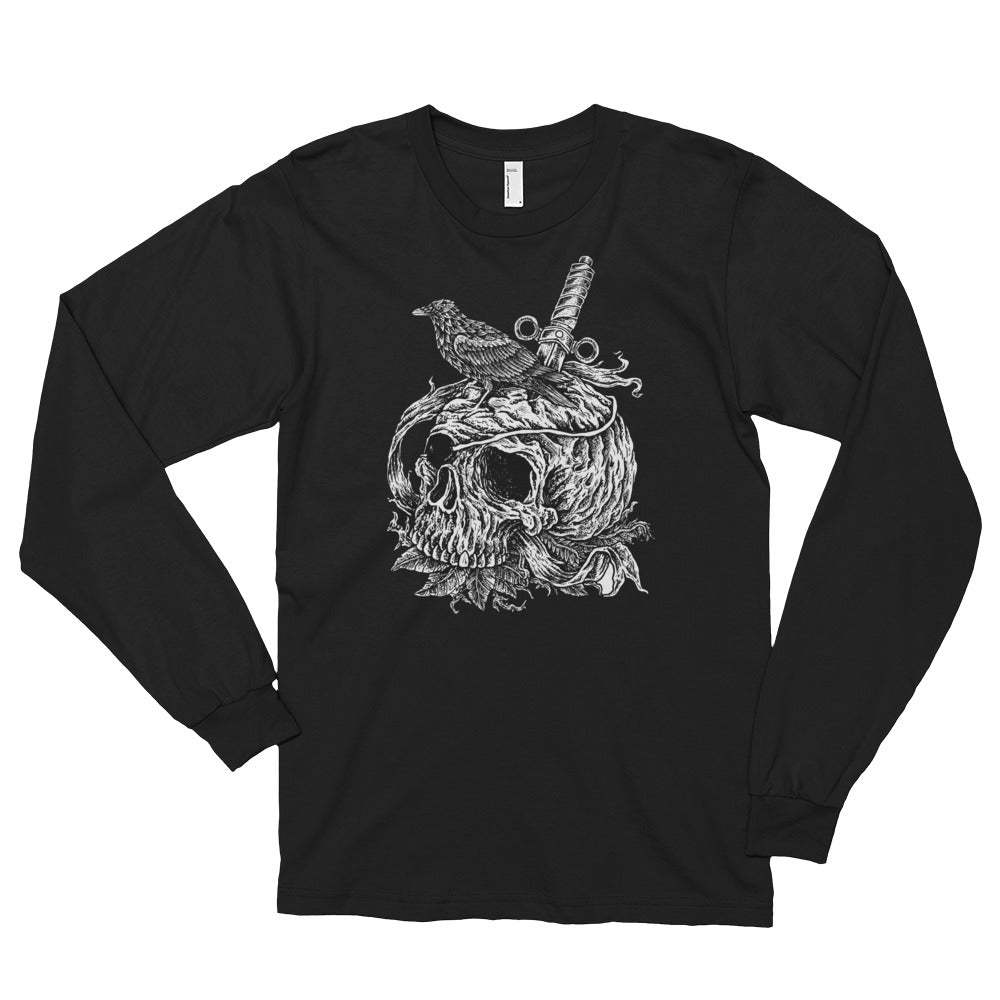 Men's Long Sleeve Shirt,Black / 2XL,Crow on a Skull Long Sleeve Shirt | thebikerstshirt